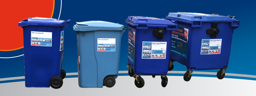 Blue recycling bins in a row